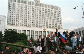 Yeltsin on the tank outside the Russian Parliment